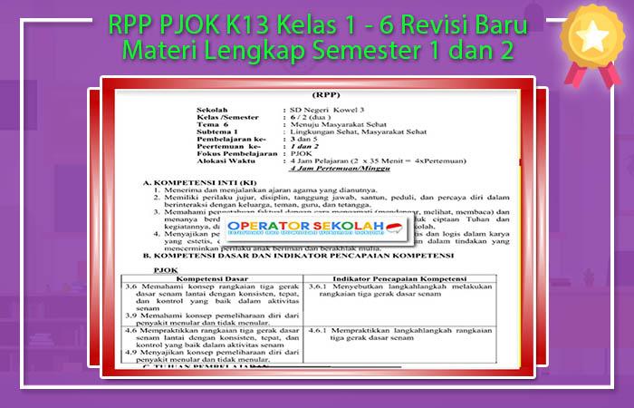 RPP PJOK K13 Kelas 1 - 6 Revisi Baru Materi Lengkap Semester 1 dan 2
