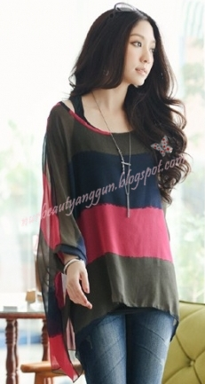 Blouse Trendy Top Red Black