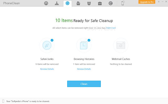 برنامج مجاني لتنظيف وتسريع الآيفون والآيباد من الكمبيوتر PhoneClean