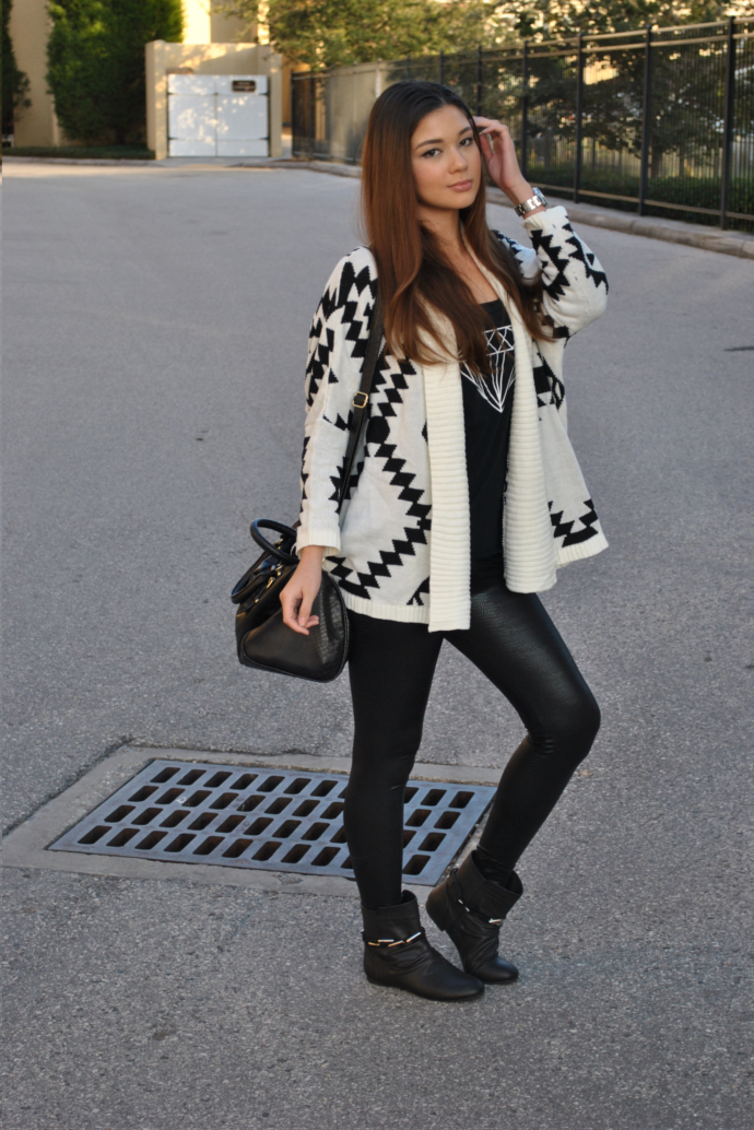 0ccecd42121 Raspberry Jam  Outfit 124 - Aztec Kimono Cardigan in White and Black