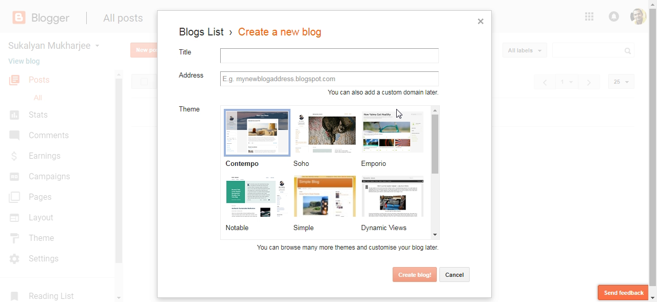 Create Blog Dialog Box