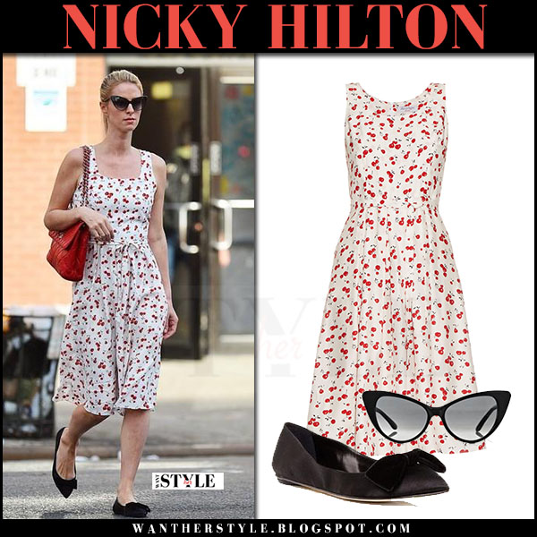 Nicky Hilton in cherry print dress and black shoes oscar de la renta juju what she wore april 2017