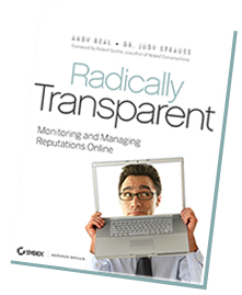 "Cover shot of the book ""Radically Transparent"" by Andy Beal and Dr. Judy Strauss"