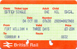 Rail Ticket: Fort William to Corrour 1988