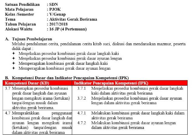 RPP PJOK Kelas 5 Semester 2 Kurikulum 2013 Revisi