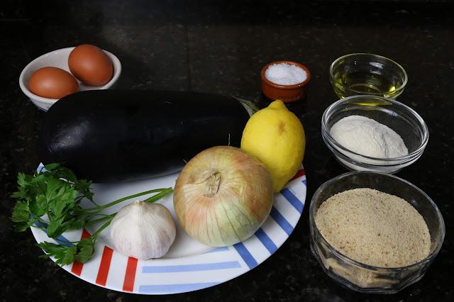 Ingredientes para albóndigas de berenjena