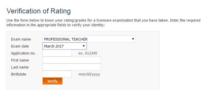 verification rating LET passers