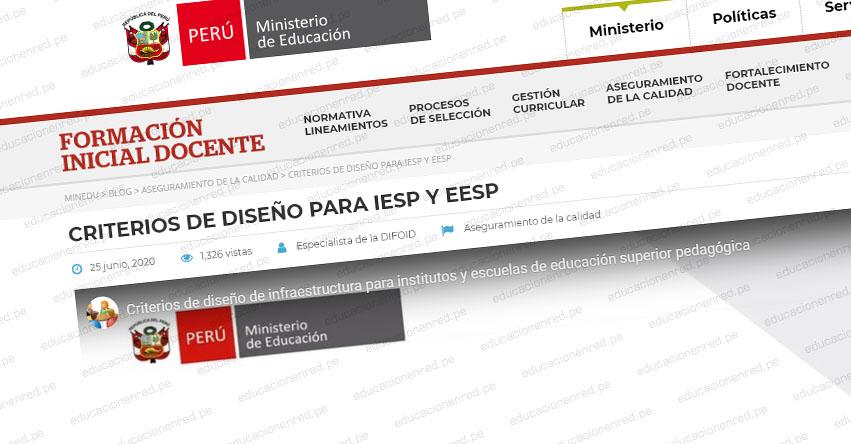 MINEDU: Criterios de diseño para IESP y EESP (R.VM. N° 100-2020-MINEDU) VIDEO