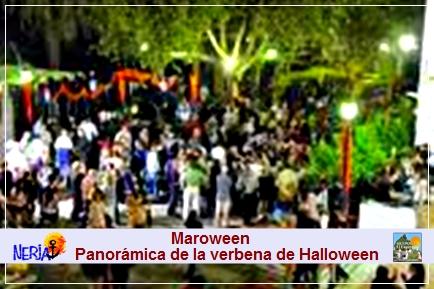 Aspecto de la verbena de Maroween con música y baile que se celebra en la plaza de Maro
