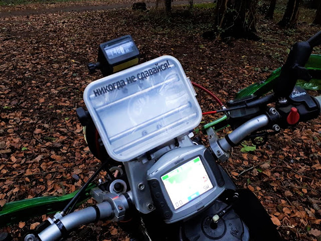 Navigation equipment is set up for long distance trials. Adjustable odometer, manual roadbook holder and GPS.