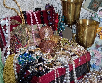 Treasure Chest Filled with Pearls and Jewels