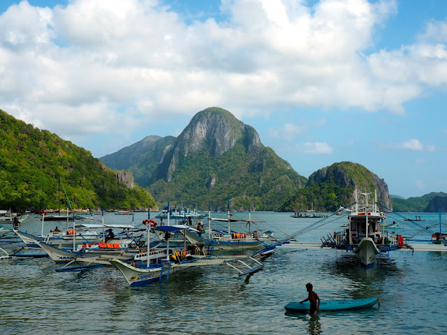 Boats in the bay at El Nido town, Palawan, Philippines