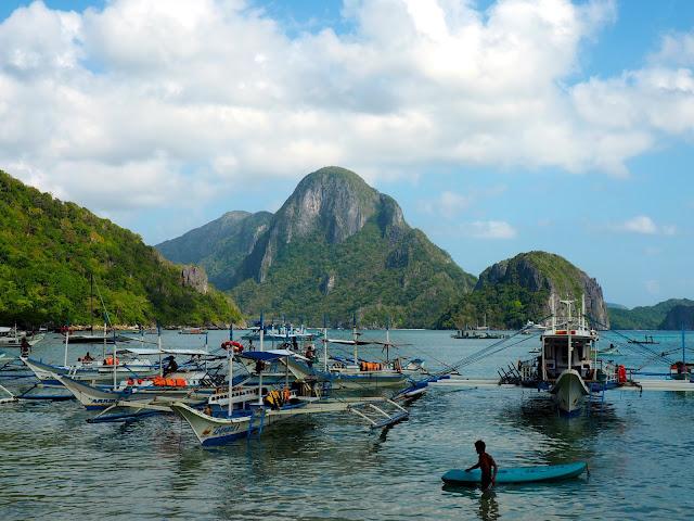 Boats in the bay at El Nido town, Palawan, Philippines