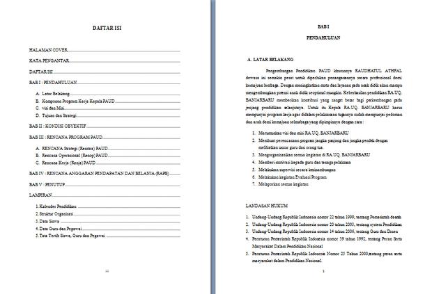 Program Rencana Kerja PAUD RA