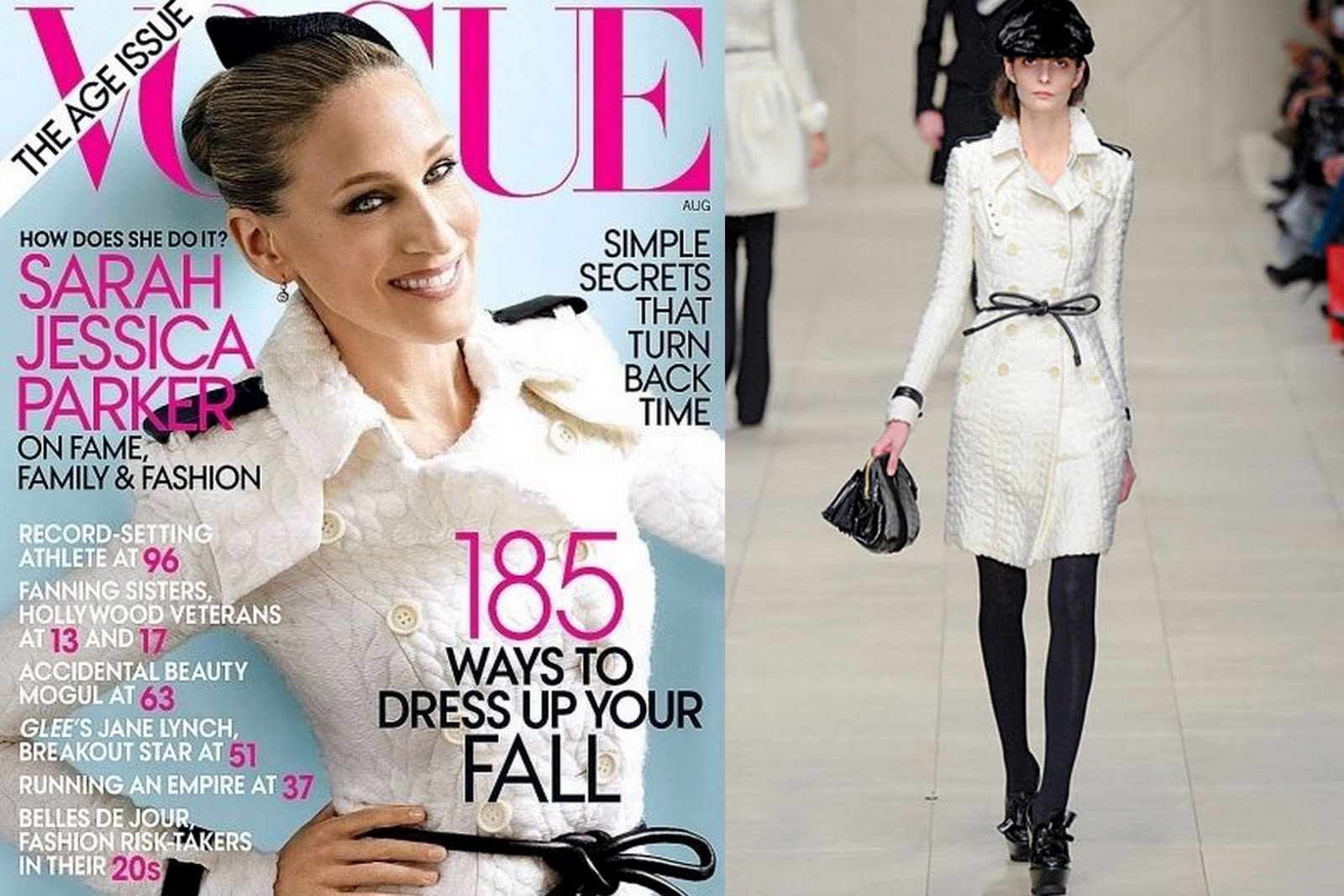 06a112a4531b The  Age Issue  sees a smiling SJP on the cover. Her white embossed coat  with black accents and leather belt is by Burberry Prorsum.