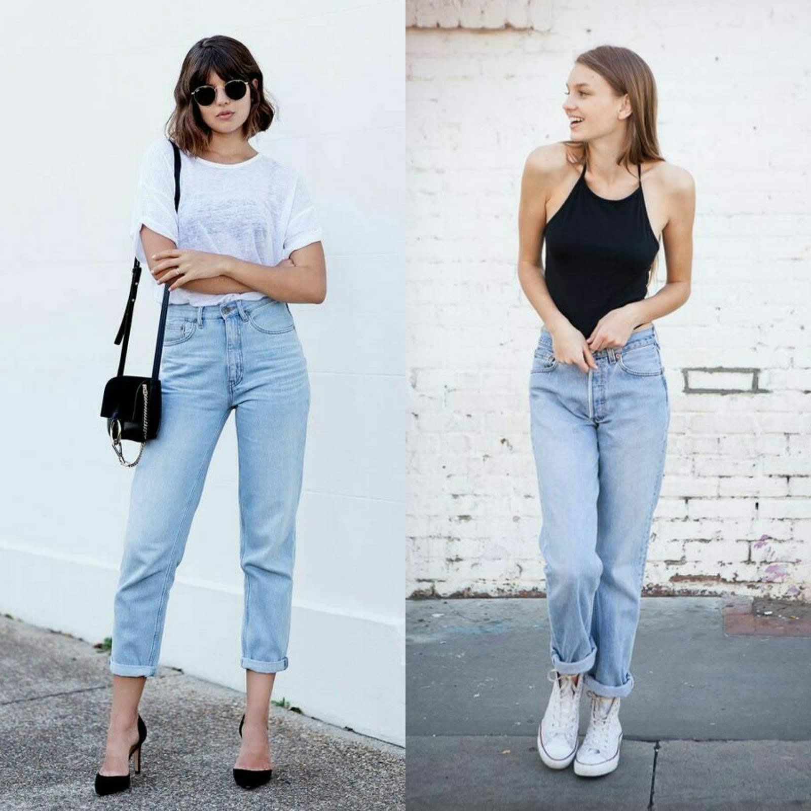 6c6888f64 ... tá sem ideia e só pensa em um look básico: camiseta branca ou regatinha  preta? As calças mom jeans são essenciais para deixar esse tipo de look mais  ...