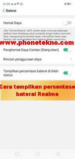 Cara menampilkan persentase baterai Oppo Realme 2