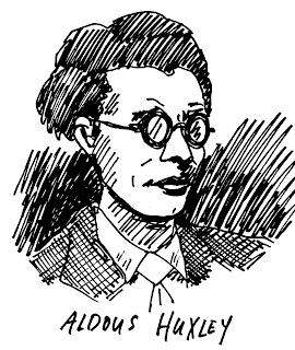 Aldous Huxley, pen and ink drawing by David Borden