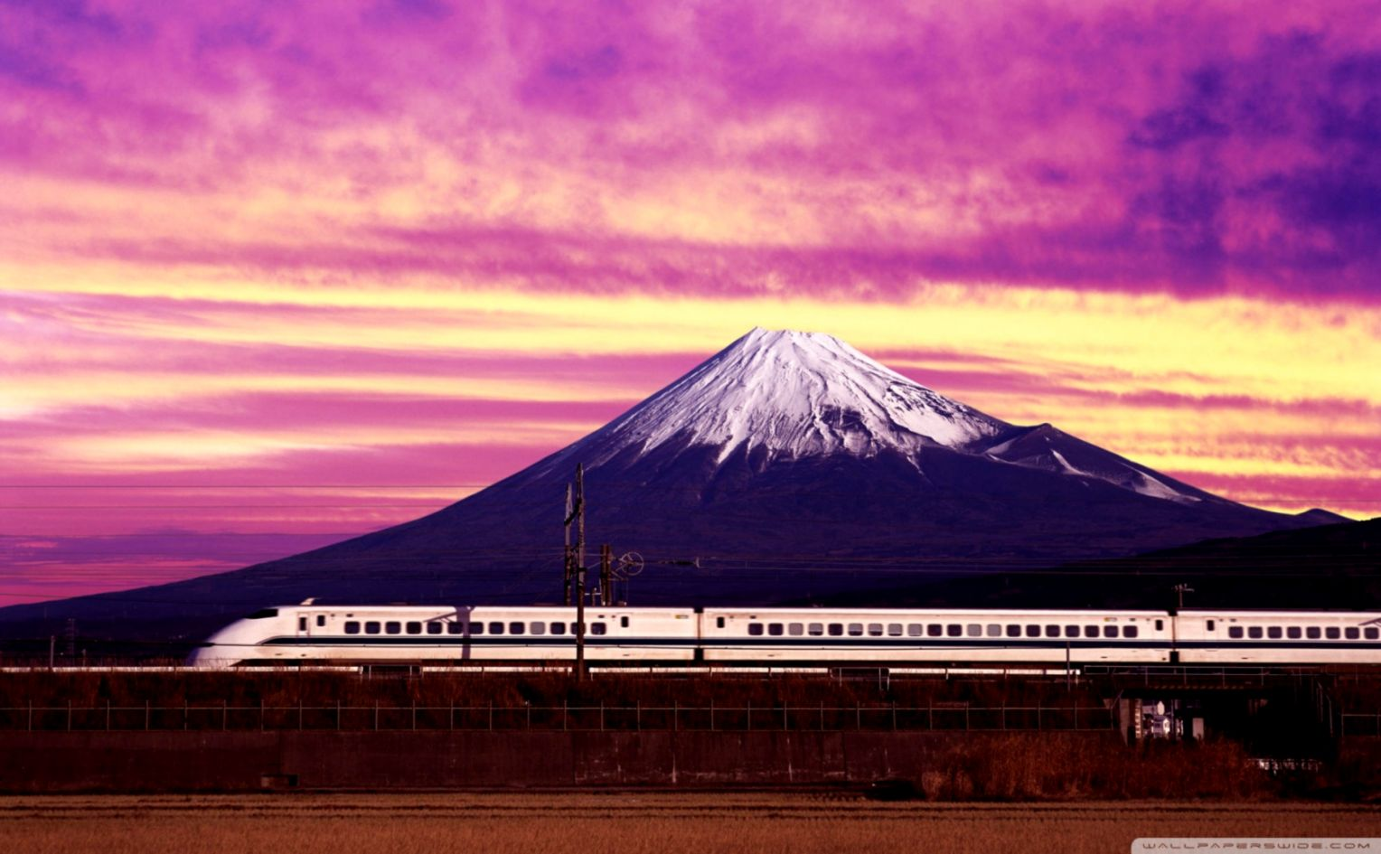 Shinkansen Train Mount Fuji Wallpaper Hd Wallpapers Library