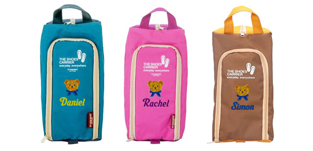 3 shoe bag in blue, pink and brown color