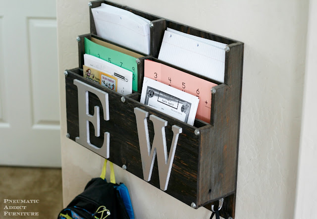 DIY backpack and homework storage