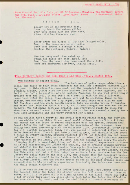 Transcriptions from various caving log books and publications