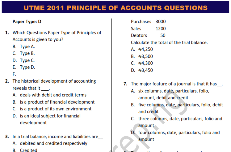 JAMB 2011 PRINCIPLES OF ACCOUNTING