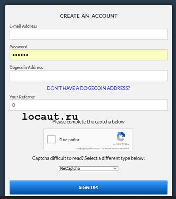 Регистрация на freedogecoin