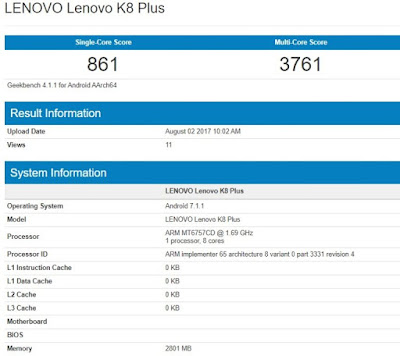 Lenovo K8 Plus with Helio P25, 3GB RAM Leaked