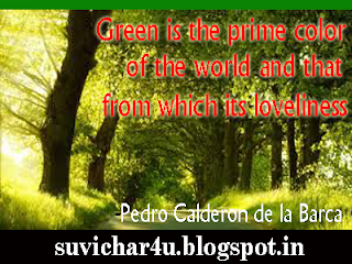 Green is the prime color of the world and that from which its loveliness.