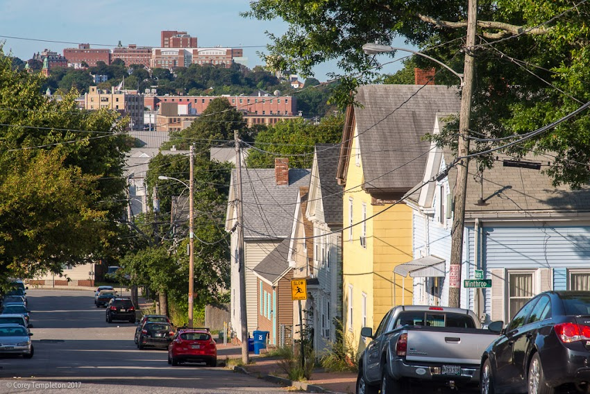 Portland, Maine USA September 2017 photo by Corey Templeton. A glimpse of the West End (Maine Medical Center is in the distance) from the slope of Madison Street in East Bayside.
