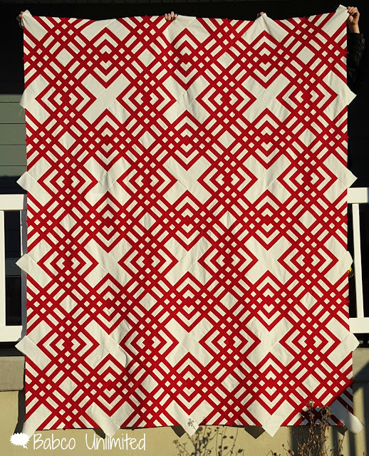 BabcoUnlimited.blogspot.com - Red & White Quilt, 2 color quilt, modern quilt