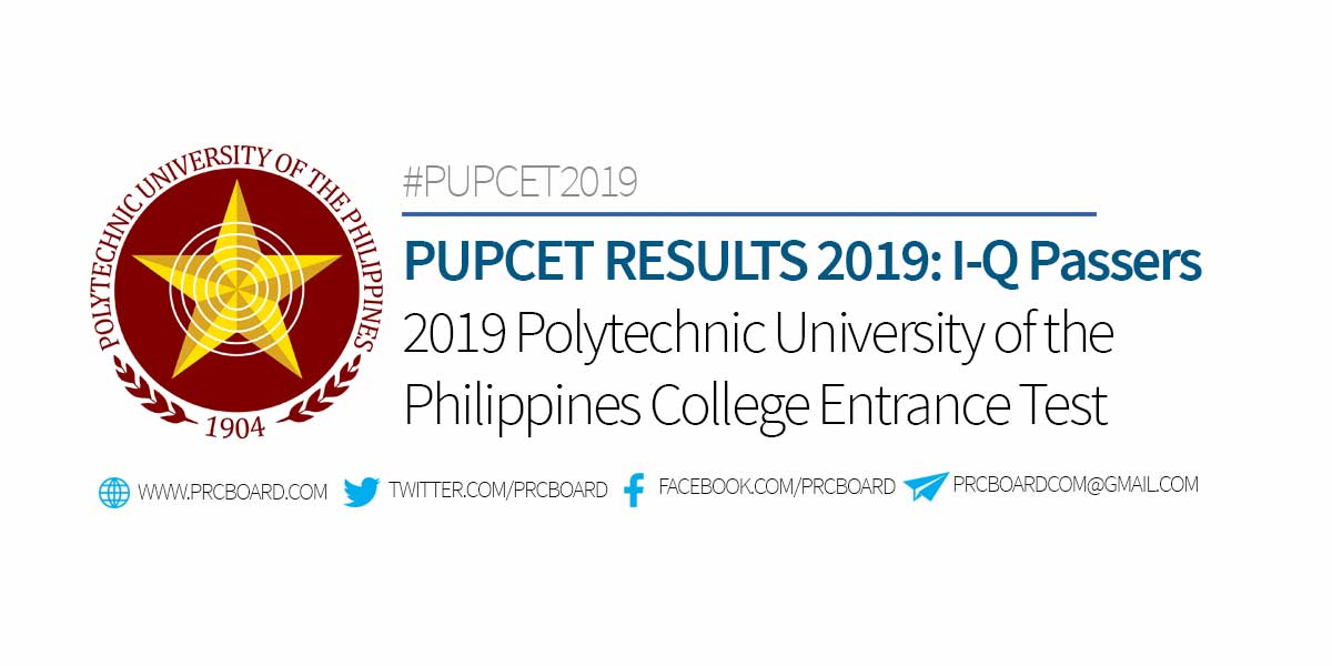 Pupcet Results 2019 List Of Passers I Q Prcboard Com