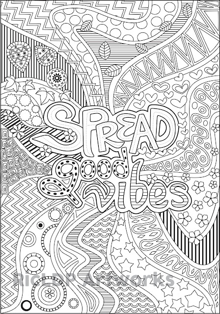 spread good vibes coloring page