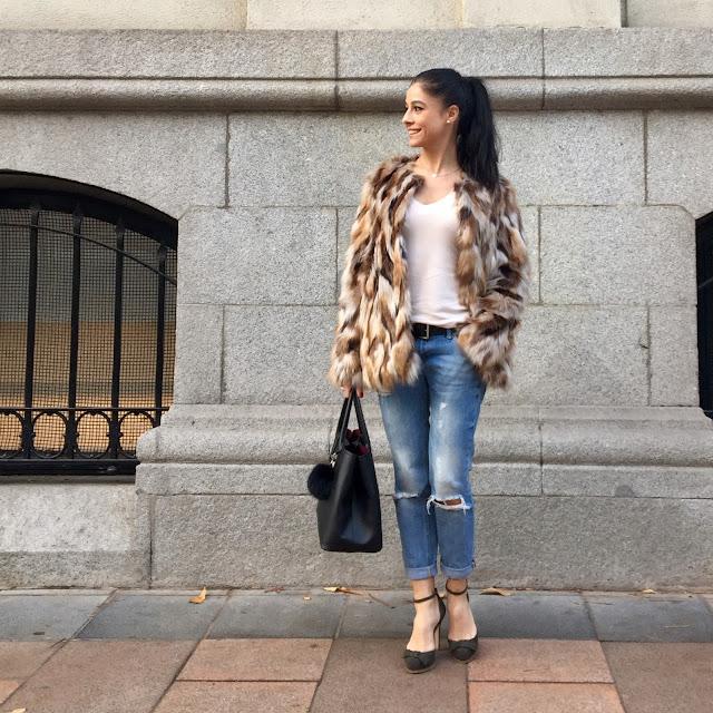 look abrigo pelo, fur coat, invierno