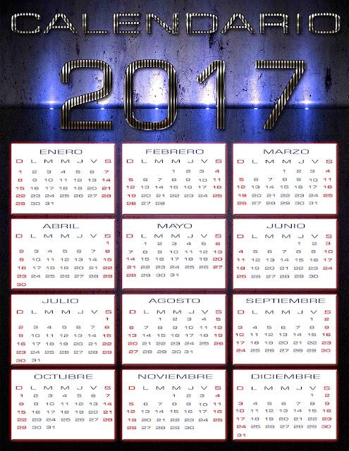 Calendario 2017 en psd - Calendarios para Photoshop gratis.
