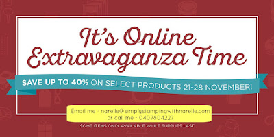 Online Extravaganza - up to 40% OFF - Simply Stamping with Narelle - available here - http://www3.stampinup.com/ECWeb/default.aspx?dbwsdemoid=4008228
