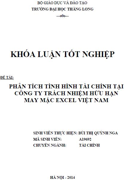 Phân tích tình hình tài chính tại Công ty TNHH May mặc Excel Việt Nam