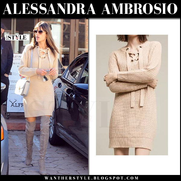 Alessandra Ambrosio in beige knit sweater dress maeve and suede boots stuart weitzman highland what she wore