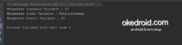Output Hasil Belajar Mengakses Menampilkan Nilai Variabel dari Class Lain di Program Java