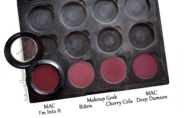 MAC I'm Into It Burgundy Eyeshadow Review Dupe Makeup Geek Bitten Cherry Cola Deep Damson