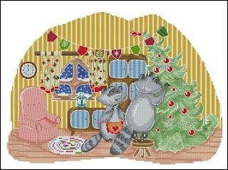 Cross-stitch «Еноты наряжают елку» Надежда Григорьева (Mandarinks)