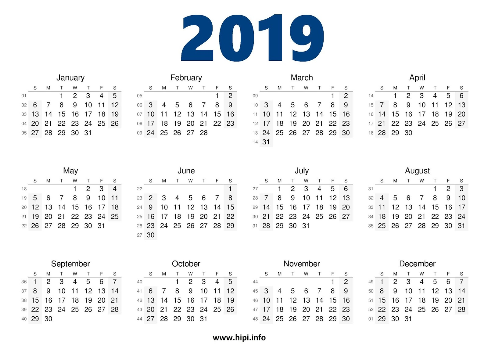 2019 calendar printable free one page printable calendar