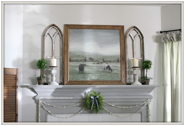 French Country Farmhouse Fireplace-Framed Cow Artwork-Arched Window Frames-Vintage Style-Button Garland-Flameless Candles-From My Front Porch To Yours