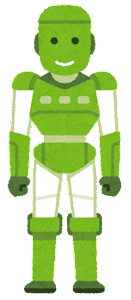 人型ロボットのイラスト(緑)