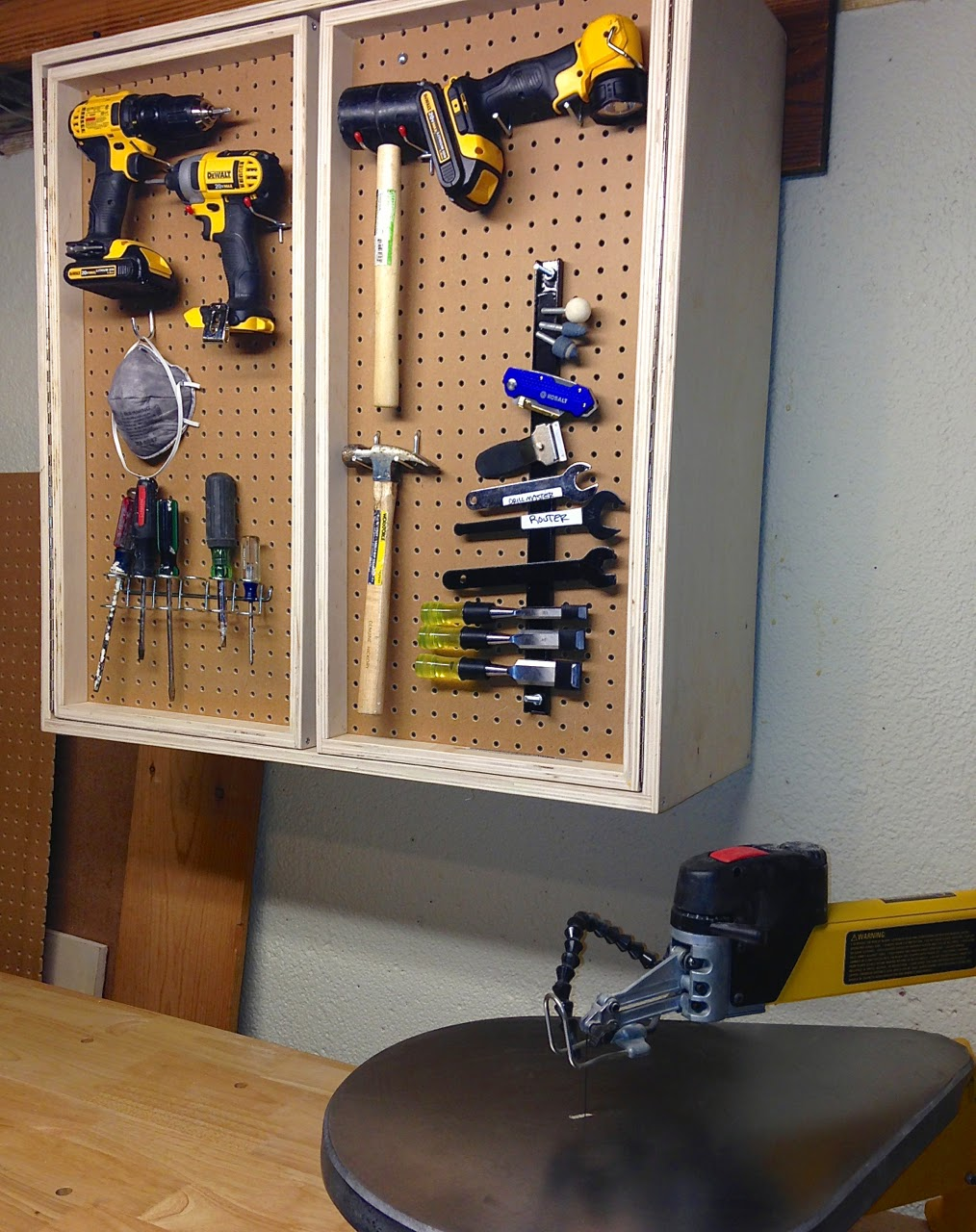 Peg Board Behind Kitchen Cabinet Doors