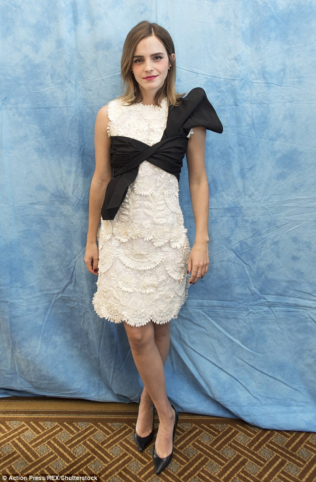 Emma Watson goes elegant in floral lace dress for the Beauty and the Beast LA Photocall