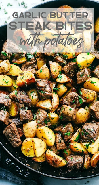 Garlic Butter Herb Steak Bites With Potatoes
