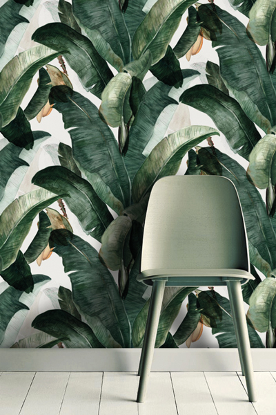 banana leaf print wall paper from made by lemon