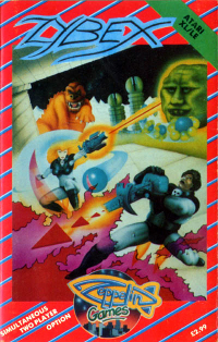 Cubierta del videojuego de Zybex, 1989 para ATARI XL/LE